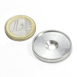 MSD-26, Metalen schijf met rand en verzonken schroefgat M4, Binnendiameter 26 mm, als tegenstuk voor magneten, geen magneet!