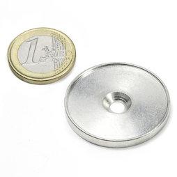 MSD-33, Metalen schijf met rand en verzonken schroefgat M4, Binnendiameter 33 mm, als tegenstuk voor magneten, geen magneet!