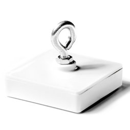 WS-HOOK-02, Plafondmagneet met ring, ferriet magneetsysteem in kunststof behuizing, vierkant, 58 x 58 mm