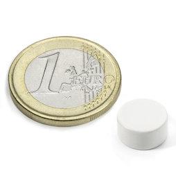 S-10-05-E/white, Kleur wit, Schijfmagneet Ø 10 mm, hoogte 5 mm, neodymium, N42, epoxy coating