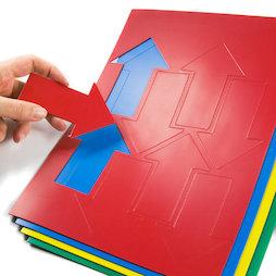 BA-014AR, Magnetische symbolen pijl groot, voor whiteboards & planborden, 8 symbolen per A4-blad, in verschillende kleuren