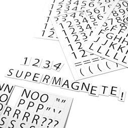 BA-015LN, Cijfers en letters magnetisch, om metalen schappen mee te etiketteren, 120 tekens per A4-vel, 2-delige set, wit