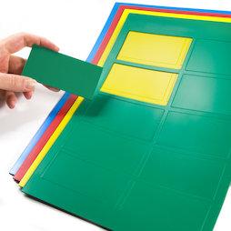 BA-014RE, Magnetische symbolen rechthoek groot, voor whiteboards & planborden, 10 symbolen per A4-blad, in verschillende kleuren