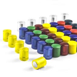 M-PC, Bordmagneten cilindrisch, neodymium magneten met kunststof kapje, Ø 14 mm, in verschillende kleuren