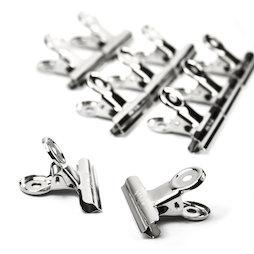 M-87, Briefklemmen 50 mm, van metaal, zilverkleurig, set van 10, geen magneten!