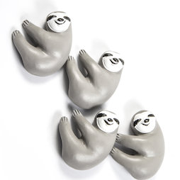 LIV-125, Luiaard, decoratieve magneten in de vorm van een luiaard, wit-grijs, set van 4