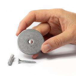 M-DOOR-03, Montageset zu Türfeststellern, Metallscheibe mit Senkbohrung, zum Anschrauben an Fußboden oder Wand