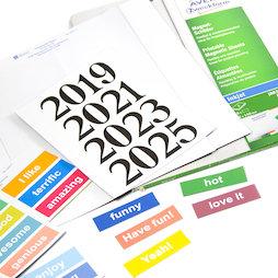 MIP-A4-03, Etiquettes magnétiques à imprimer, planches A4 avec étiquettes pré-perforées, imprimable avec imprimante jet d'encre, pour étiqueter des étagères métalliques, des tableaux blancs, etc.