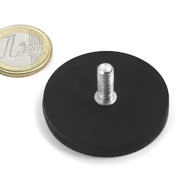 GTNG-43, rubber gecoate potmagneet met draadeinde, Ø 43 mm, schroefdraad M4