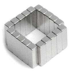 Q-15-04-04-MN, Blokmagneet 15 x 4 x 4 mm, neodymium, 45M, vernikkeld