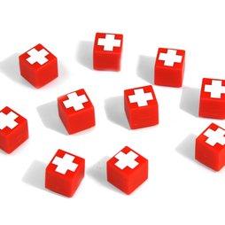 AG-01, Swiss Cube, decoratieve magneet rood met Zwitsers kruis