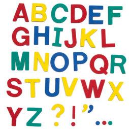 M-38/cap, Magneetletters, ca. 100 letters & leestekens, van EVA-schuim, 4 kleuren gemengd