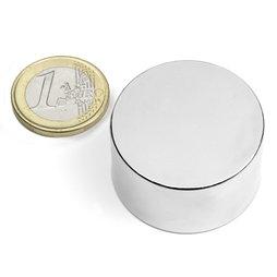 S-35-20-N, Disc magnet Ø 35 mm, height 20 mm, neodymium, N45, nickel-plated