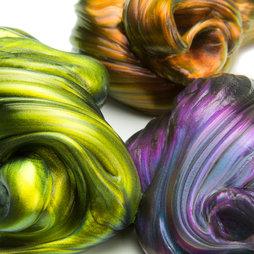 M-PUTTY-IRIS, Intelligent putty Flip-Flop, glinstert in verschillende kleuren, niet magnetisch!